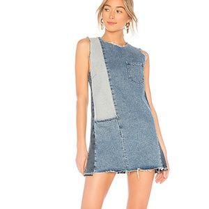 GRLFRND  Hilary patchwork denim mini dress size M